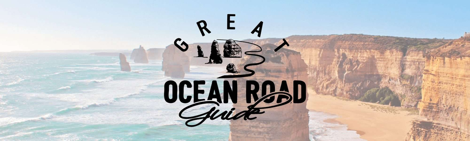 GreatOceanRoadGuide.com.au Header Image of 12 Apostles with site logo overlayed