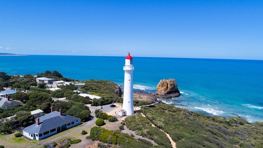 Aerial view of Aireys Inlet & split point lighthouse on the Great Ocean Road