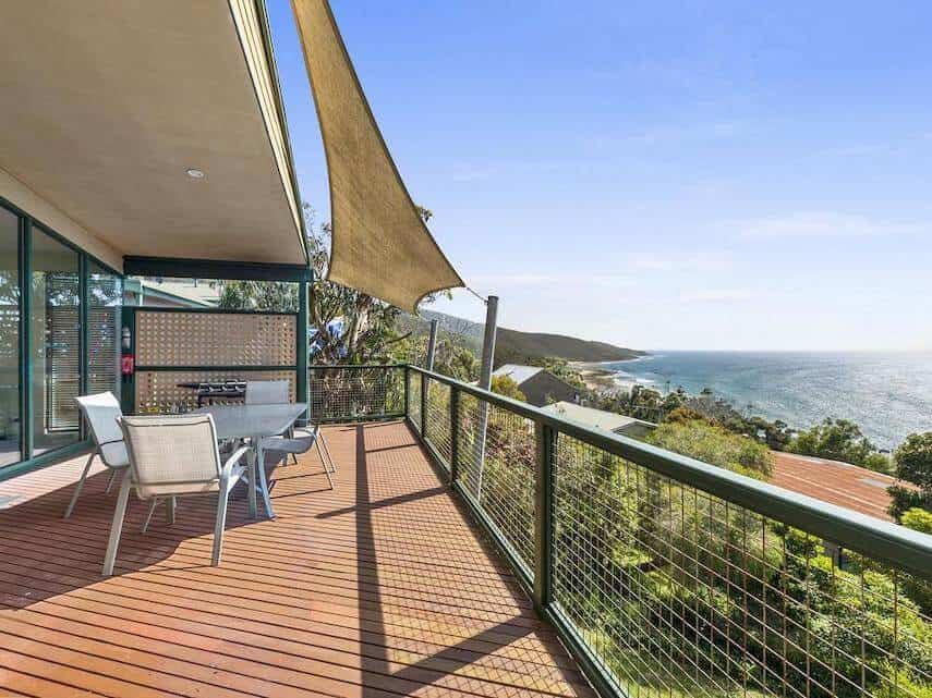 Balcony of Cara - Kennett River Accommodation overlooking the ocean
