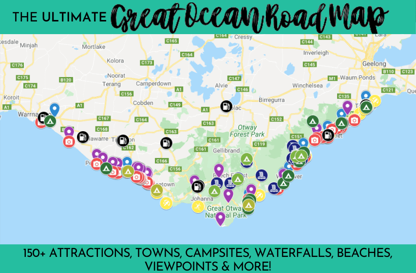 The ULTIMATE Great Ocean Road Map with 150+ attractions, towns, campsites, waterfalls, beaches, viewpoints and more marked with colour codes pins