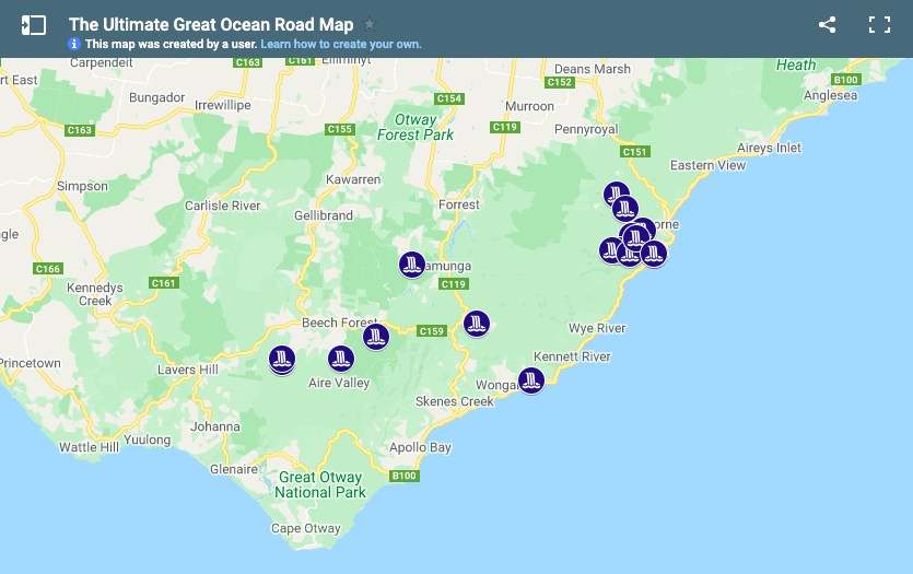 Great Ocean Road Waterfalls Map