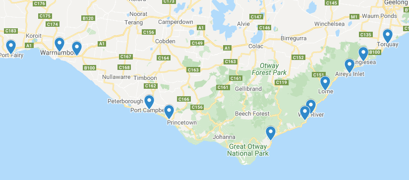 Map of Towns on the Great Ocean Road