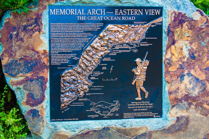 Memorial Arch Eastern View Plaque - Great Ocean Road