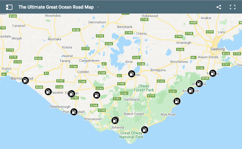 Map of Petrol Stations on the Great Ocean Road