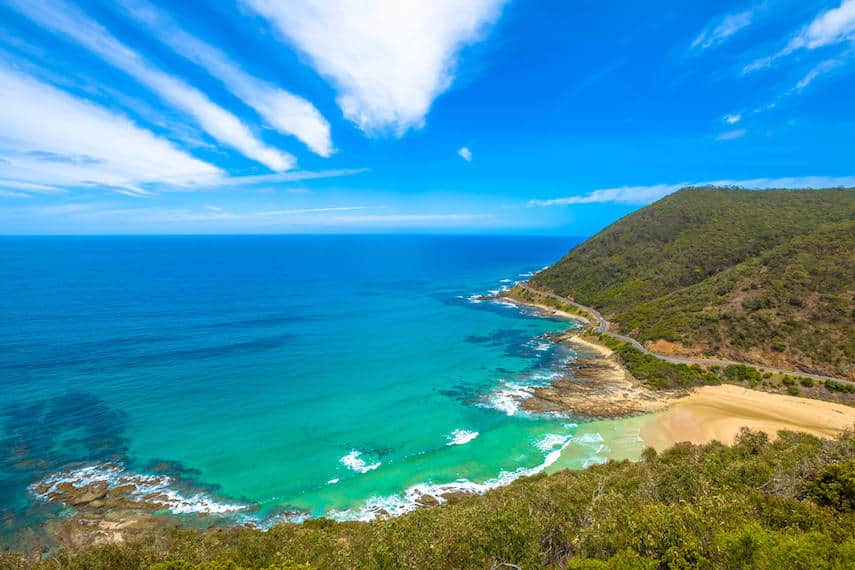 View from Teddy's Lookout Lorne from above the cliffs, with the road winding around the rock and along the coastline