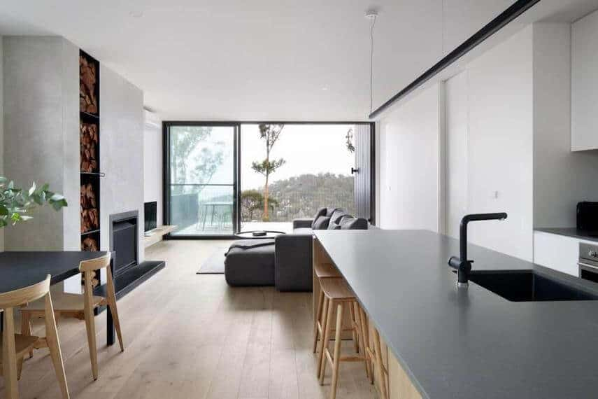 Open pan living room and kitchen of Wye Up Holiday Home in Wye River