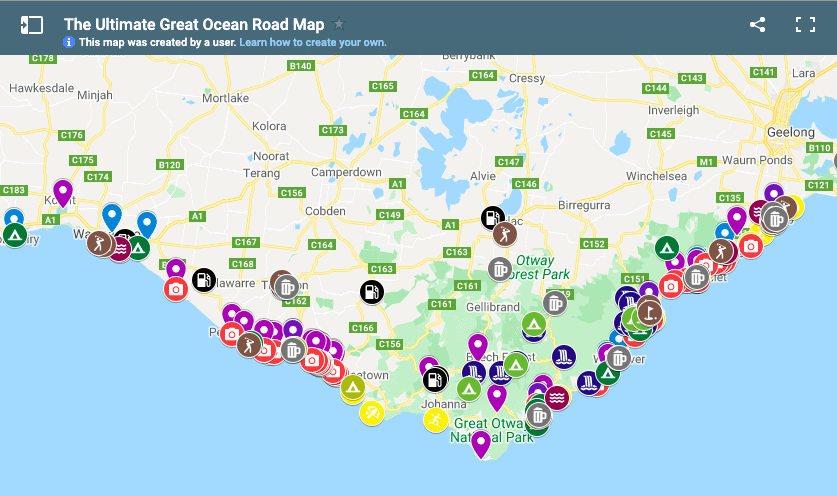 Colour Coded, Layered Map of 100+ Attractions on the Great Ocean Road