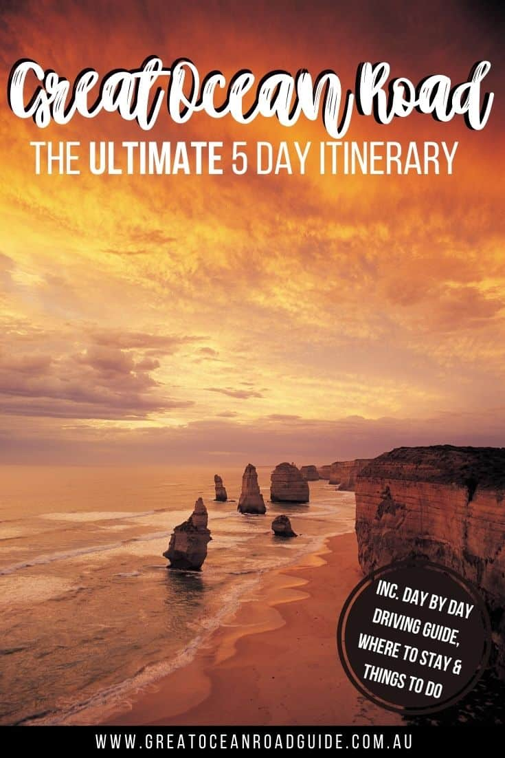 Self Drive 5 Day Great Ocean Road Itinerary PIn Image featuring the 12 Apostles Limestone Rock formation standing off the coastline with a red sunset in the background