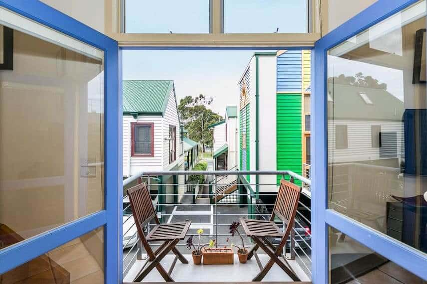 Looking at the Balcony with a table and chair set in Lorne Beach Box 20